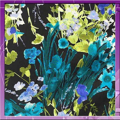 100% Rayon challis Black background w blue hues flowers TEAL