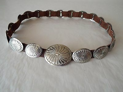 Vintage Sterling Silver 19 Conch Belt Stamped Mexico