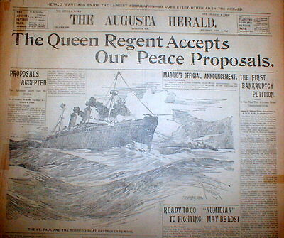 1898 headline newspaper SPANISH AMERICAN WAR ENDS Spain agrees to US PEACE TERMS