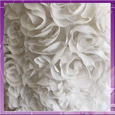 100% polyester chiffon Ivory Rosettes on mesh Fabric by the yard