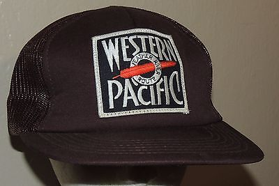 Western Pacific Feather River Route Vintage Railroad Trucker Snapback Hat Cap