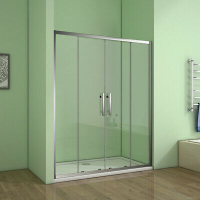 Double Sliding Shower Enclosure Door Cubicle and Stone Tray Waste Glass Screen