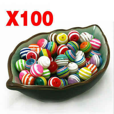 100Pcs Wholesale DIY Rainbow Colors Balls Spacer Beads Jewelry Making Necklace