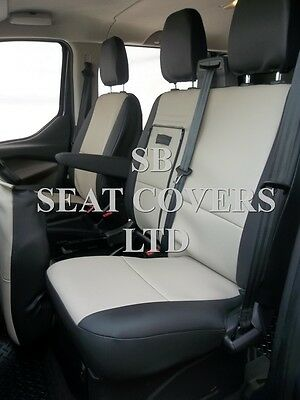 To Fit A Ford Transit Custom Van Seat Covers, 2016, Biege/ Black Leatherette