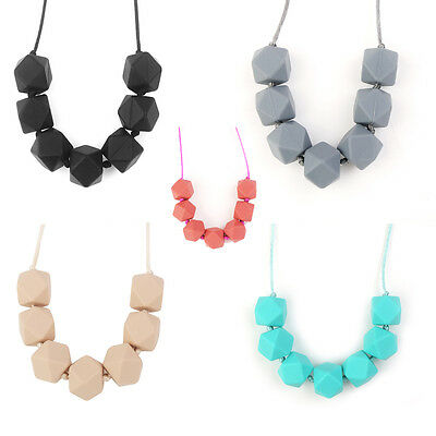Baby Silicone Teething Necklace Chain Teether Nursing Bpa-Free Polygon Beads New