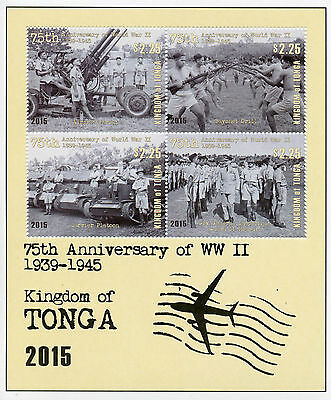 Tonga 2015 MNH WWII 75th Anniv 4v M/S Second World War II Tanks Stamps