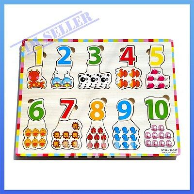 Kids Girls Boys Animals Counting Educational Wooden Puzzle Jigsaw Toy Xmas Gift