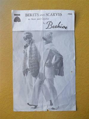 Beehive Patons Knitting Crochet Pattern Leaflet Berets And Scarves Vintage