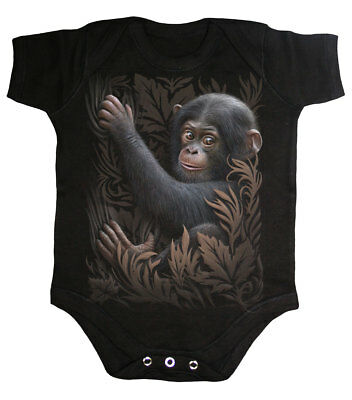 Spiral Direct MONKEY BUSINESS, Baby Sleepsuit Black RRP= 10.99|Fashion|Cute