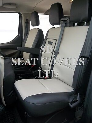 To Fit A Ford Transit Van Seat Covers, Beige/Black Leatherette