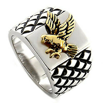 Flying Eagle 18kt Gold & Silver Rhodium Plated Mens Ring New
