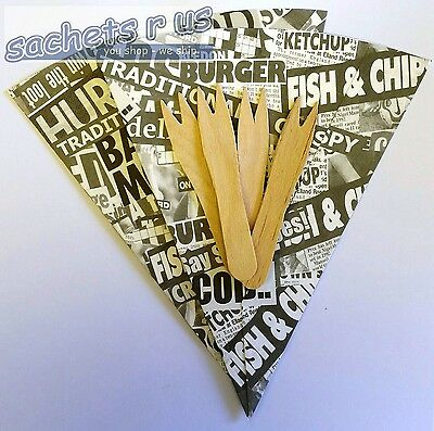Disposable Newsprint Chip Cones & Wooden Forks