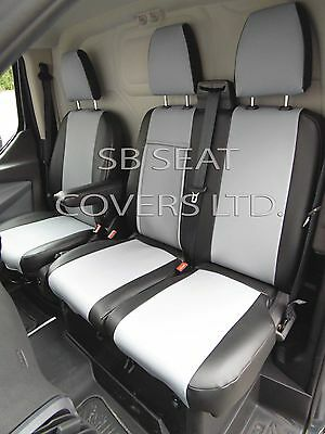 To Fit A Ford Transit Van Seat Covers - 2016, Silver Grey+Black Leatherette