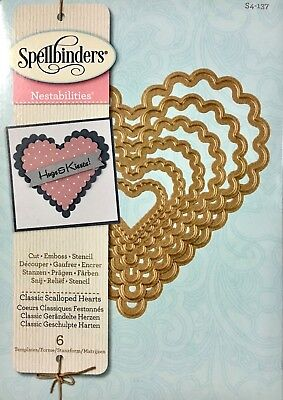Spellbinder Cut Emboss & Stencil Dies ~Classic Scalloped Hearts S4-137