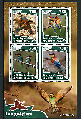 Central African Republic 2016 MNH Bee-Eaters 4v M/S Birds European Bee-Eater