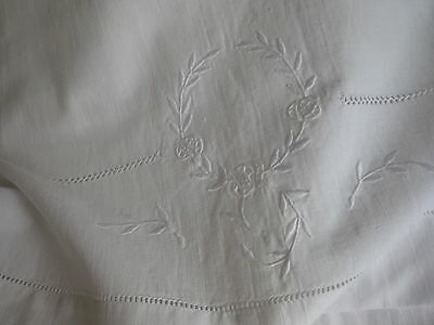 "ANTIQUE FRENCH LINEN BOLSTER CASE - MONOGRAM ""AL"" - White Embroidery"