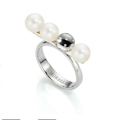 Ocean Lunae Silver Ring with 3 Fresh Water Pearls - UK SIZE M - SADX13