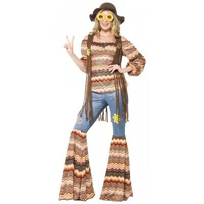 Hippie Costume Adult 60s-70s Outfit Womens Halloween Fancy Dress