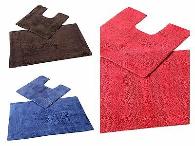 Reversible Cotton Quality 2 Pcs Bath Mat Contour Set Red Blue Brown 2000 GSM