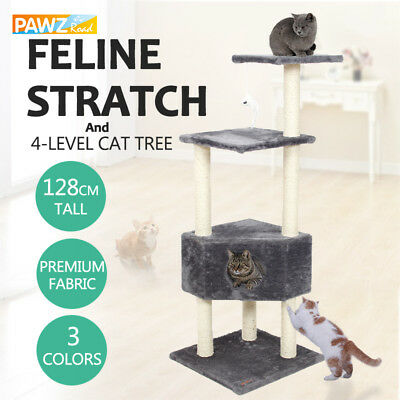 Cat Scratching Post Tree Large Condo Gym Tower Furniture Kitten Play Toy 128CM