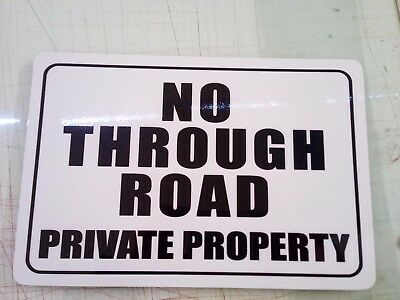 No Through Road Wrong Way Private Property Metal Sign 600x450 mm