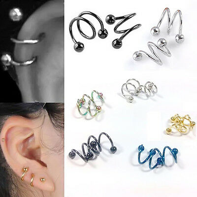 Punk Stainless Steel Spiral Helix Ear Stud Lip Nose Ring Body Piercing Jewelry F