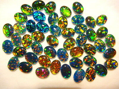 Synthetic Loose Triplet Opal Stones.8 x 6 mm Oval. 50 Pieces. Item 100616.