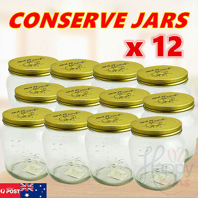 12 x Glass Mouth Jars Bottles Spice Metal Lids Candy Mason Fermenting Canning