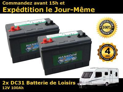 Lot de 2 x Batteries camping car decharge lente 12v 100ah 550 cycles de vie