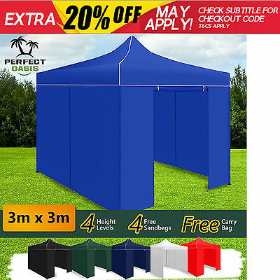 NEW PERFECT OASIS 3X3 M FOLDING GAZEBO TENT Pop Up Outdoor Market Party Marquee