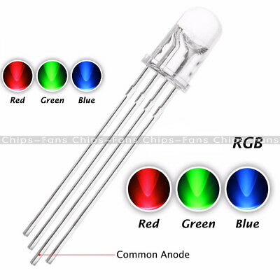 100Pcs 5mm 4pin RGB Diffused Tri-Color Common Anode LED Red Green Blue CF