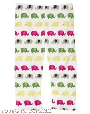 GYMBOREE Leggings Elephant Merry and Bright Baby Girl 6 12 18 months White New