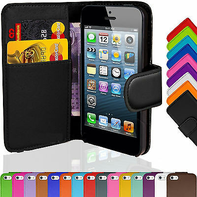 Wallet Flip Leather Case Cover Protector Stand For iPhone 5 6 6 Plus Colours