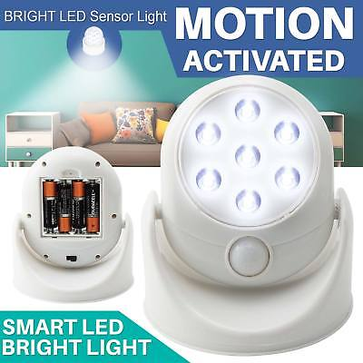 LED Motion Sensor Light Battery Operated Indoor Outdoor Garden Wall Patio Shed