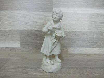 Nice antique little white biscuit - girl with fruit basket - signed