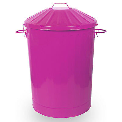 90L Colour Metal Dustbin House Garden Bin with Special Locking Lid Pink