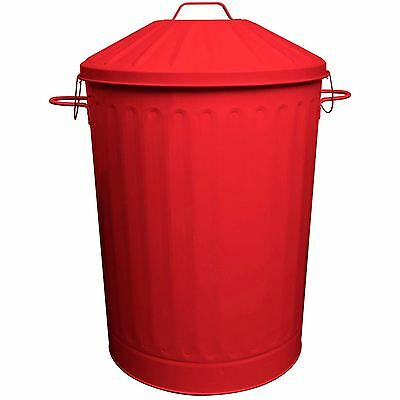 90L Colour Metal Dustbin House Garden Bin with Special Locking Lid Red