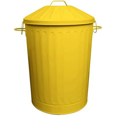 90L Colour Metal Dustbin House Garden Bin with Special Locking Lid Yellow