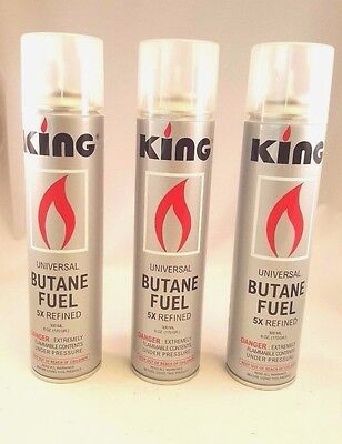 3 New LARGE Cans Of KING BUTANE Gas Bottles (300ml) - QUINTUPLE REFINED