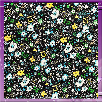 100% Rayon challis floral on black background