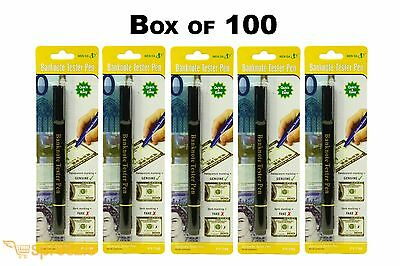 Box of 100 Counterfeit Money Detector Pen Marker Fake Dollar Bill Currency Black