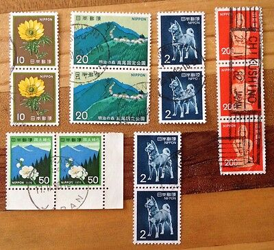 Assorted Stamps from Japan - Joiners - Blocks