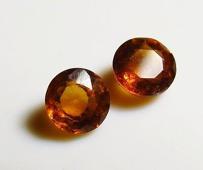 2pc ORANGE HESSONITE GARNET ROUND CUT FACETED GEM 5mm - CUT FROM NATURAL ROUGH