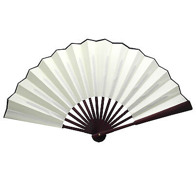 Chinese Nylon-Cloth Handheld Folding Hand Fan Drawing Dancing Performance Ivory