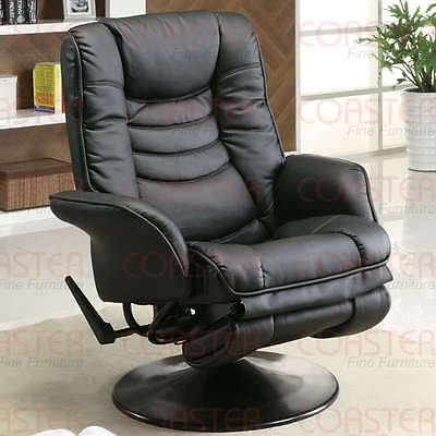 Casual Black Leatherette Swivel Chaise Recliner by Coaster 600229