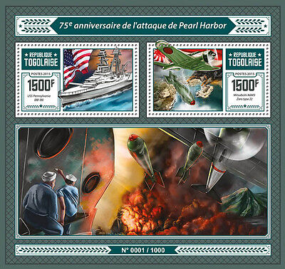 Togo 2016 MNH Pearl Harbor Attack 75th Anniv 2v S/S WWII Fighter Planes Stamps