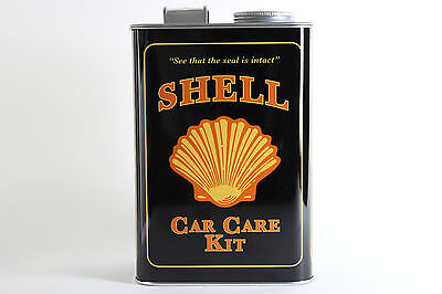 Retro Shell Oil Gas Tin Metal Box  Car Care Kit Anniversary 90 Years Exclusive