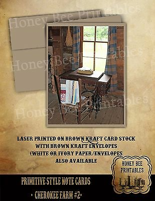Primitive Style Note Cards - Brown Kraft with envelopes - Cherokee NC Farm 2