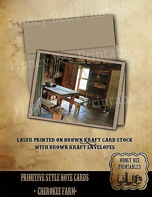 Primitive Style Note Cards - Brown Kraft with envelopes - Cherokee NC Farm