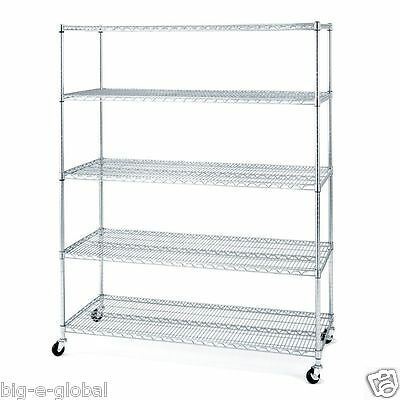"Rolling Commercial Garage Metal Storage Wire Shelving Shelf Rack 60"" x 24"" x 72"""